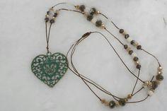 Vintage heart, czech crystals, lava beads... romance