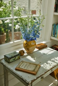 light. flowers. books. garden view. peace.