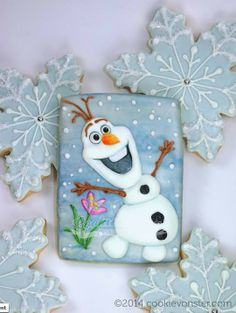 Olaf hecho galleta ¡ Disney Frozen Olaf Snowman decorated sugar cookie by Cookievonster.  #cookieart
