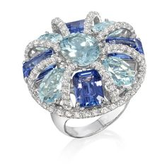Blues Ring Music Collection Amsterdam Sauer Ring in 18-kt white gold set with tanzanites, aquamarines and diamonds.
