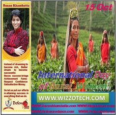 International Day of Rural Women The United Nations (UN) International Day of Rural Women celebrates and honors the role of rural women on October 15 each year. It recognizes rural womens importance in enhancing agricultural and rural development worldwide.  #RuzanKhambatta #Day #specialcelebration #PoliceHEART1091 #PoliceHEART #Entrepreneur #Celebrate #WorldDay #National #NationalDay #InternationalDay #International #UN #US #SpecialDay #India #InternationalDayofRuralWomen