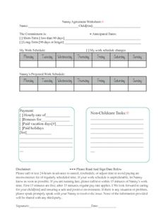 Nanny Contract Template Nanny Agreement Template Nanny Position - Nanny contract template