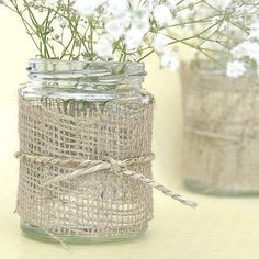 Rustic style hessian fabric to decorate your wedding table centrepiece, place settings, mason jars and other wedding party details. Rustic Wedding Centerpieces, Wedding Table Decorations, Table Centerpieces, Wedding Tables, Wedding Reception, Jam Jar Crafts, Hessian Fabric, Burlap Runners, Wedding Trends