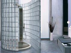 Treppenhaus aus satinierten Glasbausteinen | NYC Inspiration ... | {Glasbausteine dusche led 92}