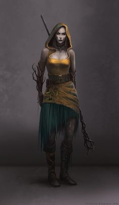Forest Witch by *telthona on deviantART; i like it for the sleeveless hoodie tunic