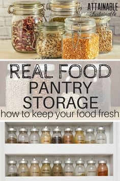 Less Food Waste with Smarter Pantry Storage Who wants to waste food? Proper storage of dry goods prevents that. Check out these options for pantry storage containers that will keep food fresh. Pantry Storage Containers, Dry Food Storage, Jar Storage, Storage Ideas, Kitchen Storage, Food Pantry Organizing, Fridge Organization, How To Store Tomatoes, Food Spoilage