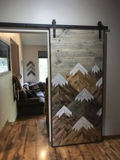 Rustic Wood Mountains Sliding Barn Door By Bayocean Rustic Design Rustic Wood, Diy Wood, Reclaimed Wood Beds, Rustic Western Decor, Wood Wood, Rustic Modern, Wood Crafts, My New Room, Rustic Design