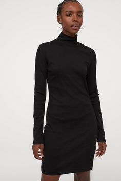 Fitted Ribbed Dress - Black - Ladies | H&M US