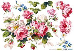 Decoupage, Vintage Floral Wallpapers, Vintage Roses, Rooster, Floral Wreath, Wreaths, Plants, Animals, Color
