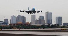 President Obama Arriving ✈ In Phoenix 8-6-13 Beautiful Shot Of Downtown Phoenix