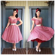 Collectif Clothing Dress, PUG belt and hairscarf, Miss L Fire Shoes and Vivien of Holloway Petticoat Pinup Girl Clothing, Girls Fashion Clothes, Girl Fashion, Fashion Outfits, Clothes For Women, Pin Up Outfits, Girly Outfits, Dress Outfits, Vintage Dresses