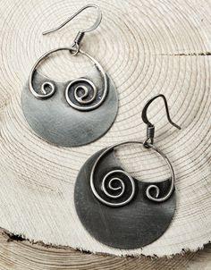 Silver+Earrings+/+Oxidized+Silver+Earrings+/+Spiral+by+Lammergeier,+$36.00