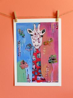 Giraffe, Art Print of Original Painting - Colorful, Quirky art by coocoovaya, Giraffe Painting, Giraffe Art, Nursery Art, Nursery Decor, Wall Decor, Quirky Art, Wall Prints, Art For Kids, Moose Art