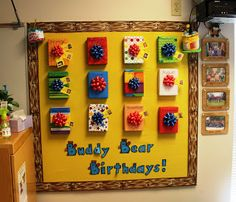 Considerate Classroom: Early Childhood Special Education Edition: Birthday Bulletin Board.  I think I will do this, this coming school year.  Cute idea and maybe I will put books for the students in each box.  Mine will be called Conner's All Star Birthdays!