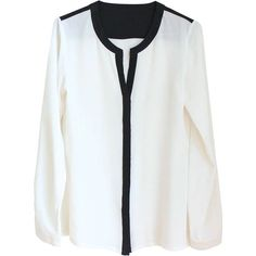 Black and white silk blouse ($89) ❤ liked on Polyvore