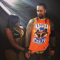 WWE Superstar Jimmy Uso (Jonathan Fatu) and his wife Naomi Knight (Trinity Fatu) backstage at a WWE live event