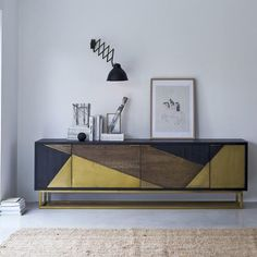 Tikamoon, interior furniture specialists, supply sideboards in high quality solid woof. Take a look at the Tikamoon online store. Solid Wood Sideboard, Oak Sideboard, Solid Wood Furniture, Furniture Design, Geometric Furniture, Side Board, Living Room Storage, Living Room Decor, Small Master Bedroom