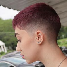 Pixie fade. Super hot. Love the colour. #hairdare