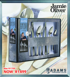 From the ever so popular Jamie Oliver comes the 56 piece 18/10 Vintage Stainless Steel Cutlery Set.#shoponline #adamsdiscount #jamieoliver www.adamsdiscount.co.za Vintage Cutlery, Cutlery Set, Jame Oliver, Dinning Set, Stainless Steel Cutlery, Gift Vouchers, Dinnerware, Household, Plates