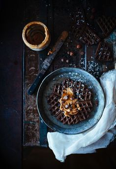 Chocolate waffles with peanutbutter and coconut