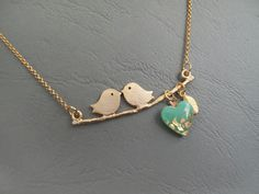 Birds on a Branch Necklace Kissing Birds on a por LaLiLaJewelry, $28.00