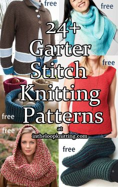 Garter Stitch Knitting Patterns for sweaters, shawls, tops, slippers, and more