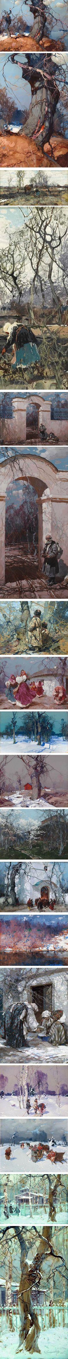 Stepan Kolesnikoff (Kolesnikov), Ukrainian, Russian Yugoslav artist gouache and oil. Beautiful compostiions and colour combinations!!