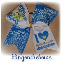 #downsyndrome #awareness #cheerleading #fiercecheerbows #blingonthebows  Www.blingonthebows.com