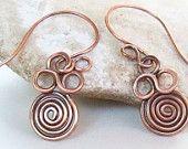 Delicate copper triple swirl dangle earrings