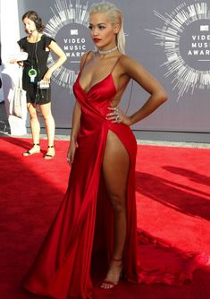 Rita ora mtv video music awards 2014 red high slit sexy prom dress with spaghetti straps Sexy Dresses, Women's Evening Dresses, Grad Dresses, Maternity Dresses, Rita Ora, Celebrity Dresses, Celebrity Style, Corsets, Dresses For Pregnant Women