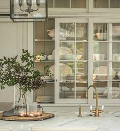 Sliding glass cabinet doors can bring a sense of nostalgia to a kitchen design. Glass Cabinet Doors, Kitchen Cabinet Doors, Sliding Glass Door, Cabinet Closet, Cupboard Doors, Closet Doors, China Cabinet, Kitchen Pantry Storage, Diy Kitchen Cabinets
