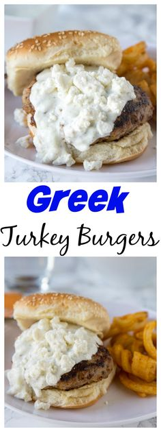 Greek Turkey Burgers – a great way to have burger night with a delicious twist!  Greek flavored turkey burgers topped with tzatziki sauce and feta cheese!