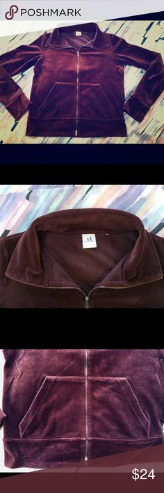 Velour Athleisure Collared Top Very cool 70s retro inspired athleisure velour top. Gorgeous rich burgundy. Zipper detail, dual-zip does NOT unzip all the way, just from top down and bottom up. Originally size L juniors but more like a juniors size M (the tag itched so I cut it off). Excellent condition, barely worn. Clean, smoke and pet free home. A/X Armani Exchange Tops