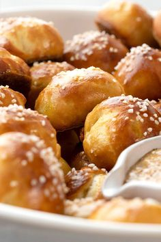 "Keep your hands free for cheering (or holding a cold drink) with this creative appetizer recipe for your game-day party. One BH&G home cook who has tried the homemade pretzel bites raves, ""These are a great treat for get-togethers—everything is self-contained and no dip required!"" #superbowlrecipes #appetizers #tailgaterecipes #fingerfoods #apps #bhg Best Party Appetizers, Cold Appetizers, Appetizer Recipes, Snack Recipes, Party Recipes, Dip Recipes, Bread Recipes, Game Day Snacks, Game Day Food"