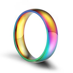 This colorful ring designed for men is made up of stainless steel. Its rainbow style makes it attractive and special and shows your love for your lover. Engraving Fonts, Custom Engraving, Mens Ring Designs, Lesbian, Gay, Rainbow Fashion, Stainless Steel Types, Tungsten Wedding Bands, Color Ring