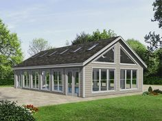 Plan - lots of windows and 4 sets entry doors. Pool Deck Plans, Pool House Plans, Gazebo Plans, Patio Plans, Barn Plans, Dream House Plans, Small House Plans, Building A Garage, Building Plans