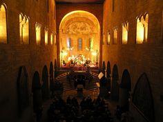 Interior of romanesque basilic of St. Prague Castle, Sacred Architecture, Romanesque, Pilgrimage, Candle Sconces, Interior, Bohemia, Religious Architecture, Indoor