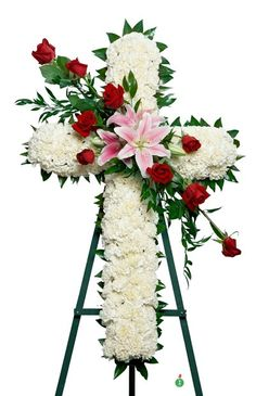 Send White Cross Standing Spray in Miami Beach, FL from Miami Beach Flowers®, the best florist in Miami Beach. All flowers are hand delivered and same day delivery may be available. Little Flowers, All Flowers, Beautiful Flowers, Spring Flowers, White Flowers, Red Roses, Blue Flower Arrangements, Funeral Floral Arrangements, Table Arrangements