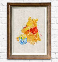 Winnie The Pooh Poster, Disney Watercolor Decor Pooh Print, Sackcloth Art Room Wall Art, Disney Art Painting -004mb