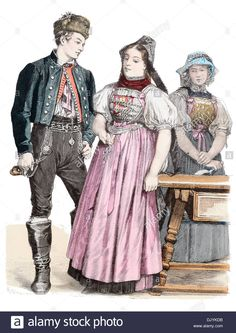 Late 19th Century Xix 1800s Germany Costumes Of Baden Baden Stock Photo, Royalty Free Image: 63302887 - Alamy