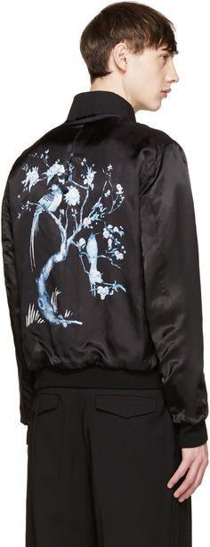 Alexander McQueen Black Embroidered Collar Bomber Jacket
