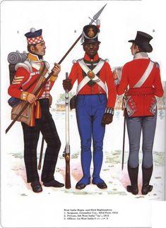 1812  British Army. West India Regiments and 93rd Highlanders.  Napoleonic War Plates.    nacekomie.ru