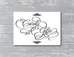 INSTANT DOWNLOAD  Cards & Gifts Sign 5x7 DIY by CreativePapier, $4.00