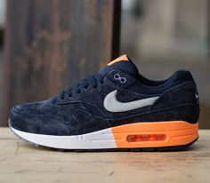 Nike Air Max 1 Premium-Dark Obsidian-Metallic Silver-Atomic Orange