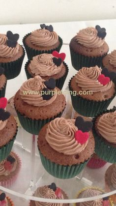 Chocolate mini cupcakes by Purple Icing Chocolate Mini Cupcakes, How To Make Cake, Icing, Purple, Desserts, Food, Tailgate Desserts, Deserts, Meals