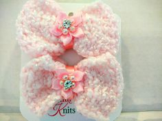 Girl's Pink Knit Bow Barrettes with Flower by SnugglebuggKnit
