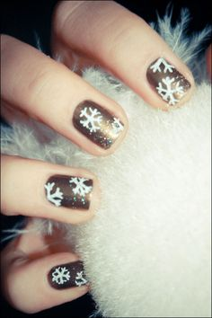 Snowflake nails.     Pinned on behalf of Pink Pad, the women's health mobile app with the built-in community