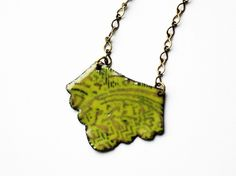Ornamental Enamel Pendant  Chartreuse by katemessjewelry