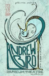 February 18, 2009 Show Poster - Poster - Andrew Bird by catherine odel for catastophe design