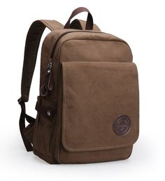 3c0f8c02a53e Berchirly British Retro Unisex Canvas Laptop Backpack School College Rucksack  Bag 15.6inch Coffee Leather Backpack